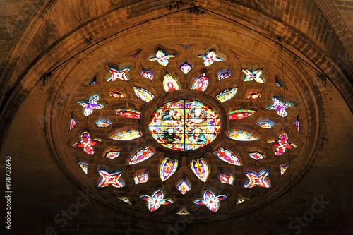 Rozeta, witraże, Katedra w Sewilli, Katedra Santa Maria, Giralda, Sewilla, Andaluzja, Południowa Hiszpania, Hiszpania, Europa