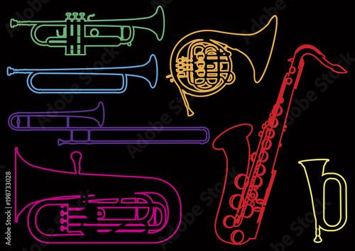 Fototapeta A set of illustrations of wind musical instruments