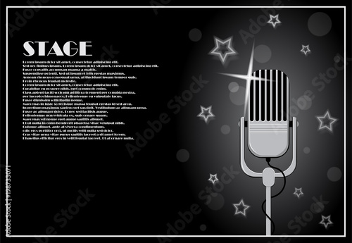 Aluminium Vintage Poster Poster with microphone on the background of an abstract composition