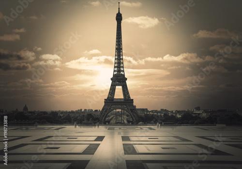 Fotobehang Eiffeltoren vista della Tour Eiffel dal trocadero