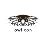 The owl's head. Bird vector icon. Logo, emblem, label, sign for your project.