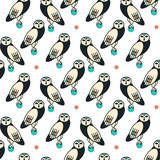Owls. Seamless pattern on white background. Vector illustration.