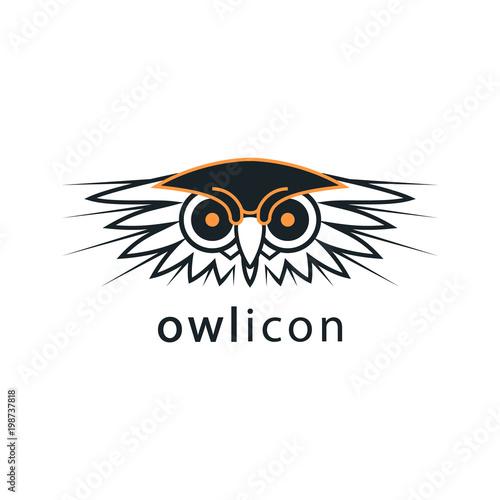 Fotobehang Uilen cartoon The owl's head. Bird vector icon. Logo, emblem, label, sign for your project.