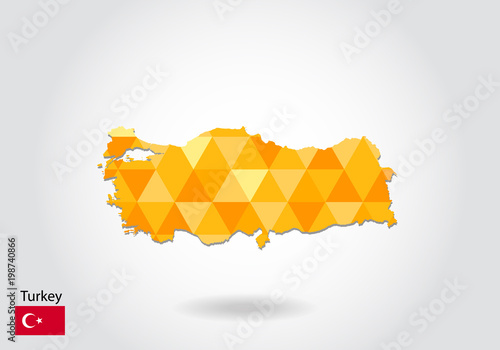 Geometric polygonal style vector map of turkey. Low poly map of ...