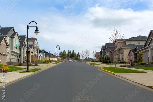 New Suburban Neighborhood Street in North America