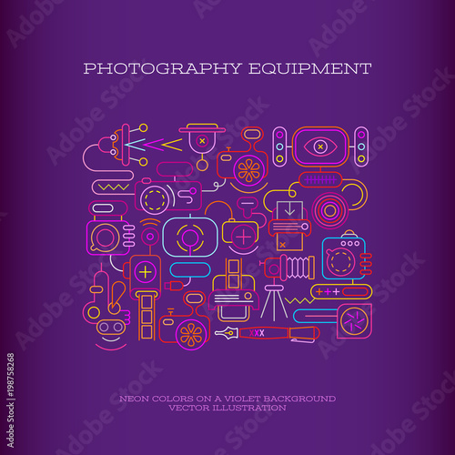 Plexiglas Abstractie Art Photography Equipment vector banner