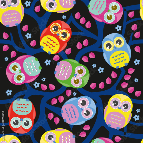 Fotobehang Uilen cartoon Cute floral seamless vector pattern with owls.