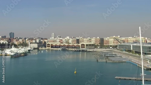 Valencia harbor, port wide angle, panoramic with modern and ancient buildings, Spain