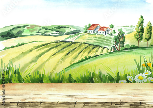 Fotobehang Wit Old farm and fields in countryside with empty table as background. Watercolor hand drawn illustration