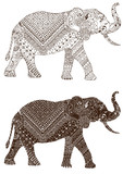 Elephant is ornate decorated with patterns in the style of mehndi