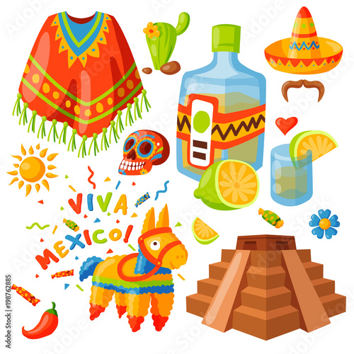 Mexico icons vector illustration traditional graphic travel tequila alcohol fiesta drink ethnicity aztec maraca sombrero. © partyvector