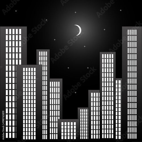 Night business quarter with skyscrapers and the sky and moon in black and white color