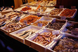 Closeup of food market with fish store. Bologna, Italy - 198771890