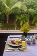 Breakfast overlooking the jungle garden in the Pilgrimage Hotel, Hue, Vietnam