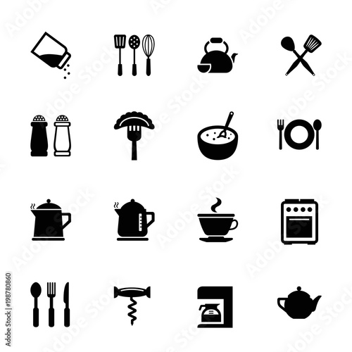 Kitchen icon set. Can be used for topics like food, cooking, restaurant, cafe - 198780860