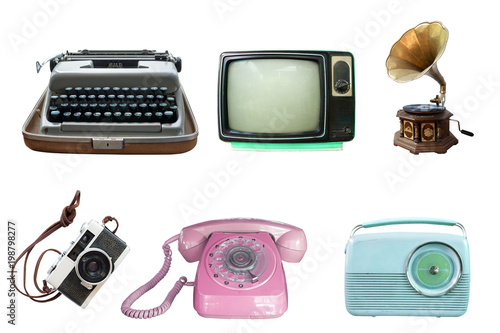 Collection of vintage retro technology related - clipping path objects isolated on white background.
