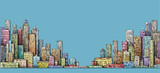 City panorama, hand drawn cityscape, architecture illustration