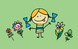 Little cartoon girl with flowers - 198802433