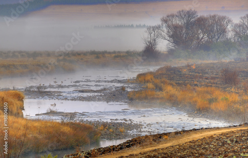 RIVERSIDE TRAIL . Winter morning on the Umzimkulu River, Underberg, Kwazulu Natal, South Africa. - 198804650
