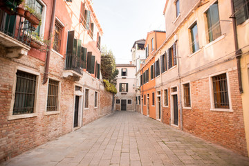 Venice Street with Ancient Buildings.