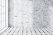 White marble and tiled panoramic bathroom empty