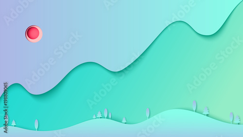Plexiglas Groene koraal Abstract nature forest landscape with mountain and sky paper cut background template.Vector illustration.