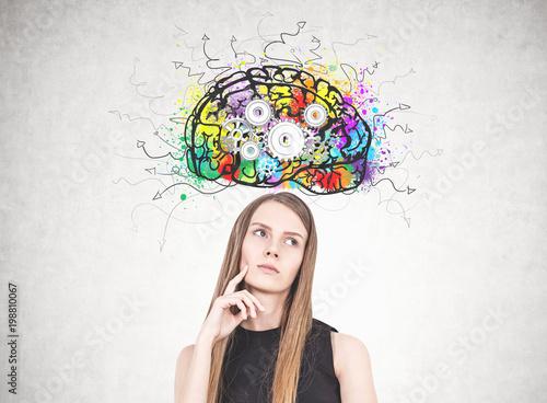 Pensive blonde woman, cog brain © denisismagilov