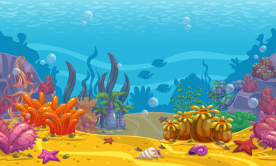 Cartoon seamless underwater background.