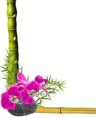bambous, fleur d'orchidée et galets