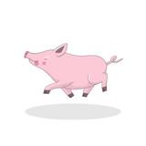 Cute pig cartoon. Cheerful pig character.