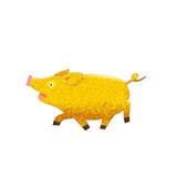Cute gold pig cartoon. Cheerful golden pig character