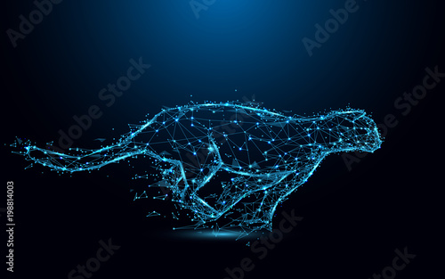 Abstract cheetah running form lines and triangles, point connecting network on blue background. Illustration vector
