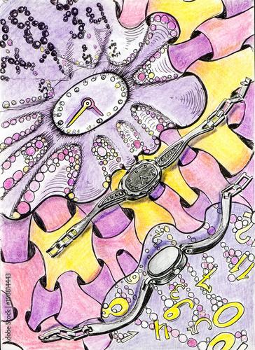 Fotobehang Graffiti Infinity watch markers drawings