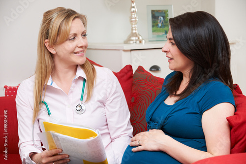 Midwife Discussing Medical Notes With Pregnant Woman