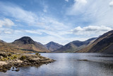 Colorful Lake District mountains landscape reflected in still lake of Wast Water