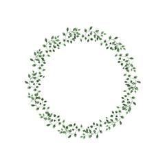 Watercolor illustration green leaves circle on isolated background. © kozhevnikofa