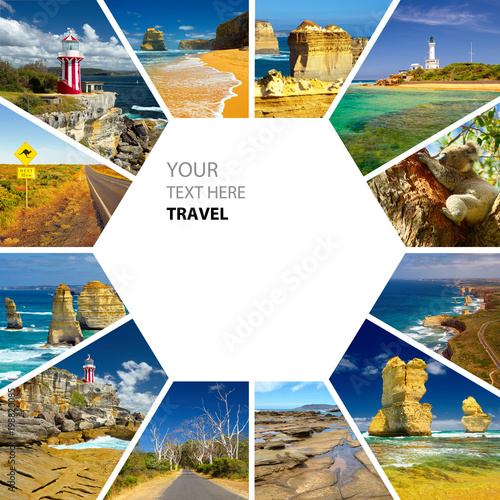 Aluminium Sydney Photo collage of Australia. Great Ocean Road. Twelve Apostles. Travel