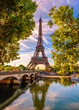 Leinwanddruck Bild - Paris Eiffel Tower and river Seine in Paris, France. Eiffel Tower is one of the most iconic landmarks of Paris