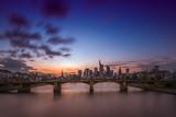 The skyline of the banking metropolis in Frankfurt am Main during a beautiful sunset. Frankfurt, Germany / 26 February 2018