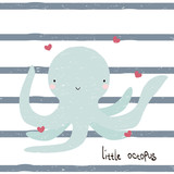 Cute little octopus with lettering. Vector hand drawn illustration. - 198831204