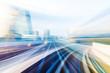 Leinwanddruck Bild - Speed motion in urban highway road tunnel