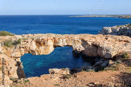 Fotobehang Cyprus natural stone bridge cave in Mediterranean Sea, Ayia Napa, Cyprus.