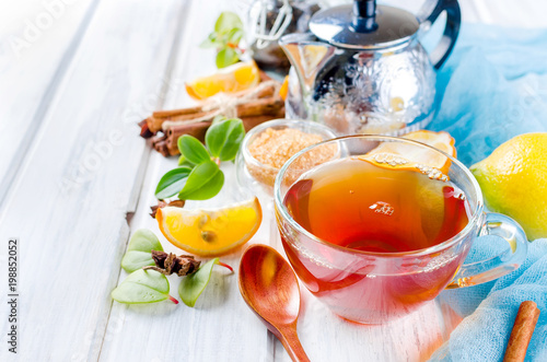 Cup Hot tea with lemon and ginger - 198852052