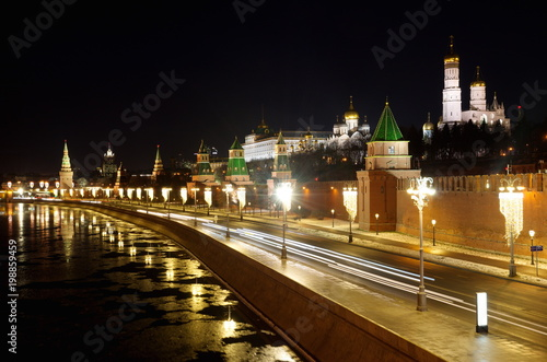 Night view of Moscow Kremlin and Kremlin embankment from Big Moskvoretsky bridge, Moscow, Russia