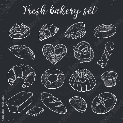 Hand drawn bread isolated on chalk board. Bakery objects vector illustration in sketch style.