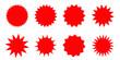 Set of red starburst, sunburst badges. Design elements - best for sale sticker, price tag, quality mark. Flat vector illustration isolated on white background.