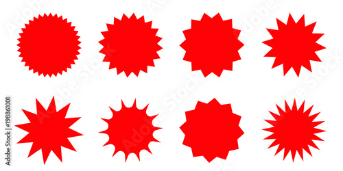 Set of red starburst, sunburst badges. Design elements - best for sale sticker, price tag, quality mark. Flat vector illustration isolated on white background. - 198861001