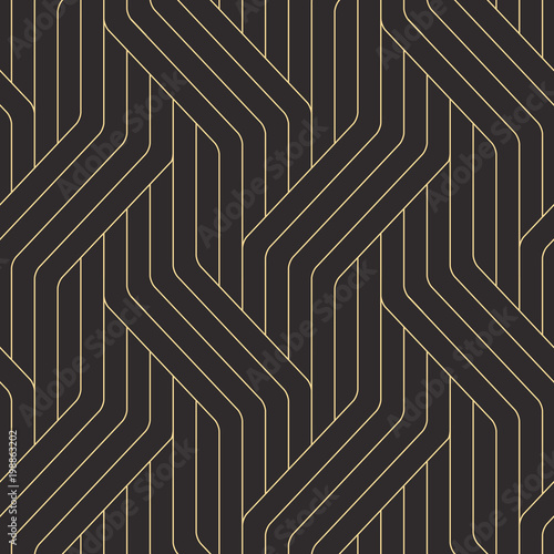 Seamless black and gold ornate complex art deco rounded lines pattern vector - 198863202