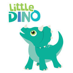 Cute Little Baby Triceratops Dinosaur Looking Up with Little Dino Lettering Vector Illustration Isolated on White