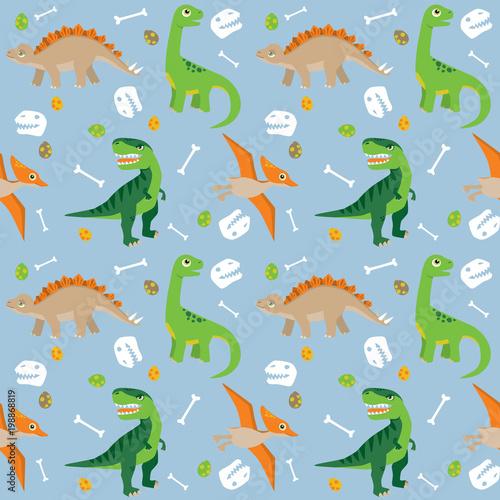 Various Dinosaurs on Blue Background Seamless Pattern Flat Vector Illustration